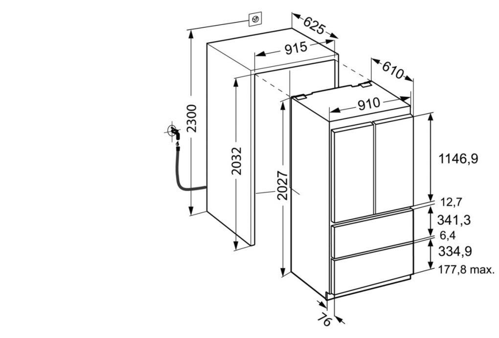 Liebherr Ecbn 6256 встраиваемый холодильник размеры вxшхг 2039