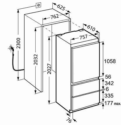 Liebherr Ecbn 5066 встраиваемый холодильник размеры вxшхг 2027
